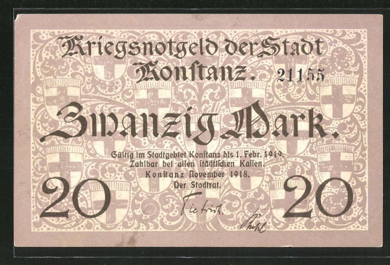 Notgeld Konstanz 1918, 20 Mark, Wappen, Blick über den Bodensee rückseitig