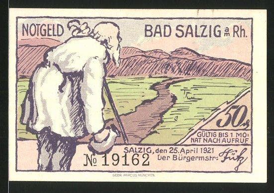 Notgeld Bad Salzig / Rhein 1921, 50 Pfennig, betagter Mann spziert am Rhein