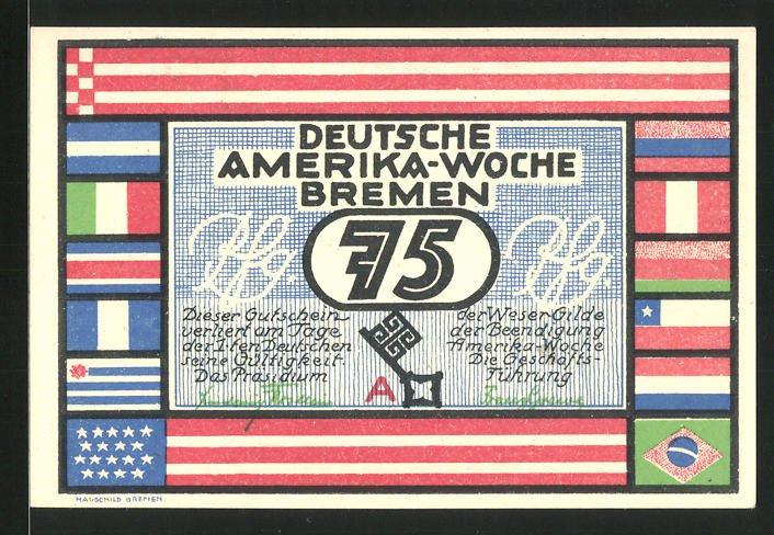 Notgeld Bremen 1923, 75 Pfennig, Deutsche Amerika-Woche, Schleuse Bremerhaven
