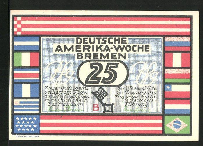 Notgeld Bremen 1923, 25 Pfennig, Deutsche Amerika Woche, Santiago De Chile rückseitig
