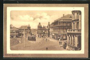 Präge-AK Pretoria, Church Square, Strassenbahn