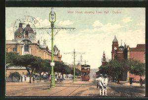 AK Durban, West Street showing Town Hall, Strassenbahn