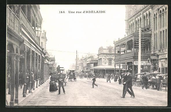 AK Adelaide, Une Rue, Strassenpartie im Zentrum