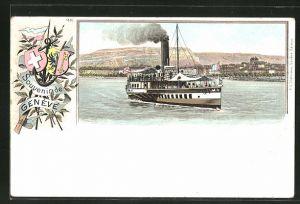 Lithographie Geneve, Dampfer vor der Küste