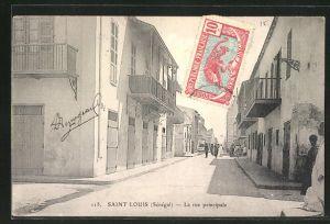 AK Saint-Louis, La Rue Principale, Strassenpartie