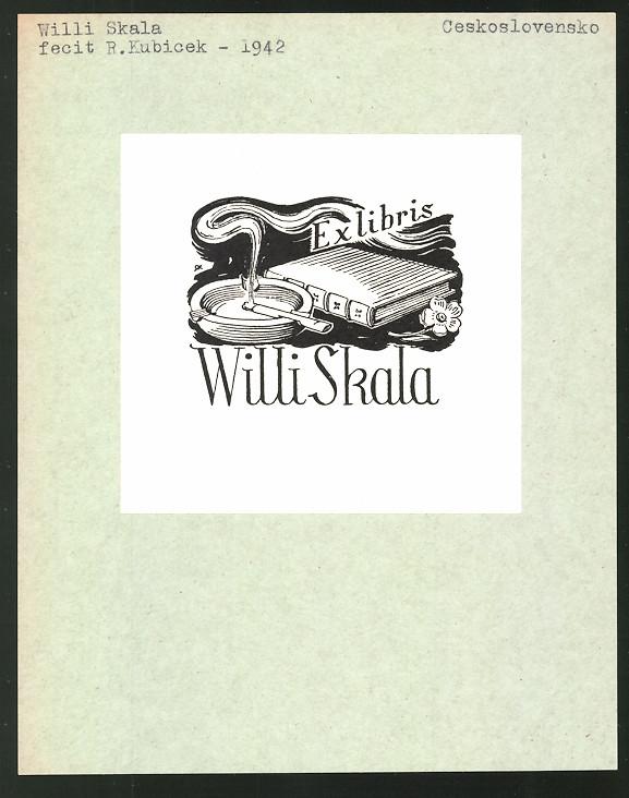 Exlibris von R. Kubicek für Willi Skala, Buch und brennende Zigarette im Aschenbecher