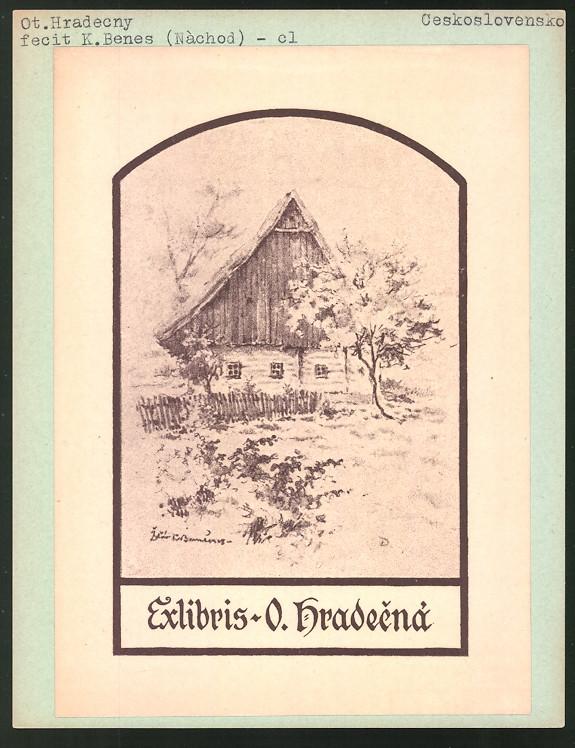 Exlibris von K. Benes für ot. Hradecny, Bauernhaus in idyllischer Landschaft