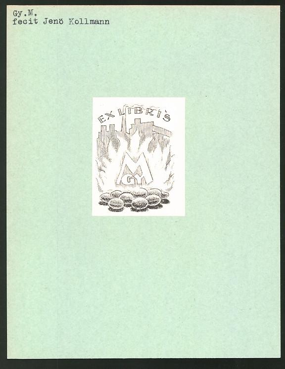 Exlibris von Jenö Kollmann für Gy. M., brennende Kohlen und Initialien