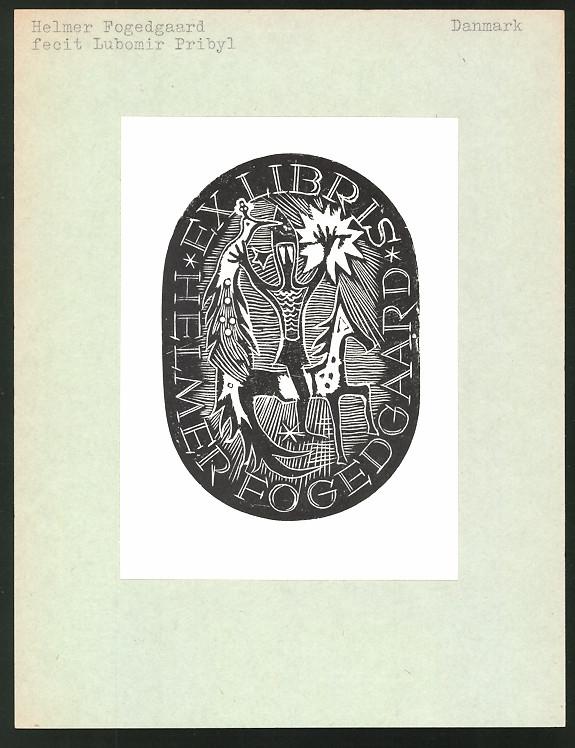 Exlibris von Lubomir Pribyl für Helmer Fogedgaard, Figur mit Pfau zu Pferd
