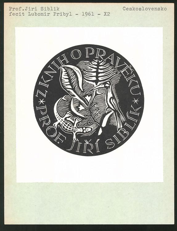 Exlibris von Lubomir Pribyl für Prof. Jiri Siblik, Vogel und Eidechse