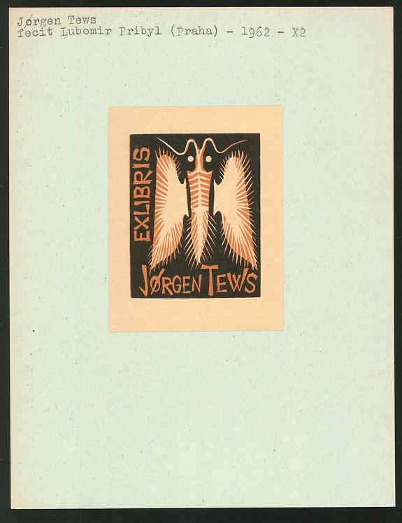 Exlibris von Lubomir Pribyl für Jorgen Tews, Falter, Schmetterling