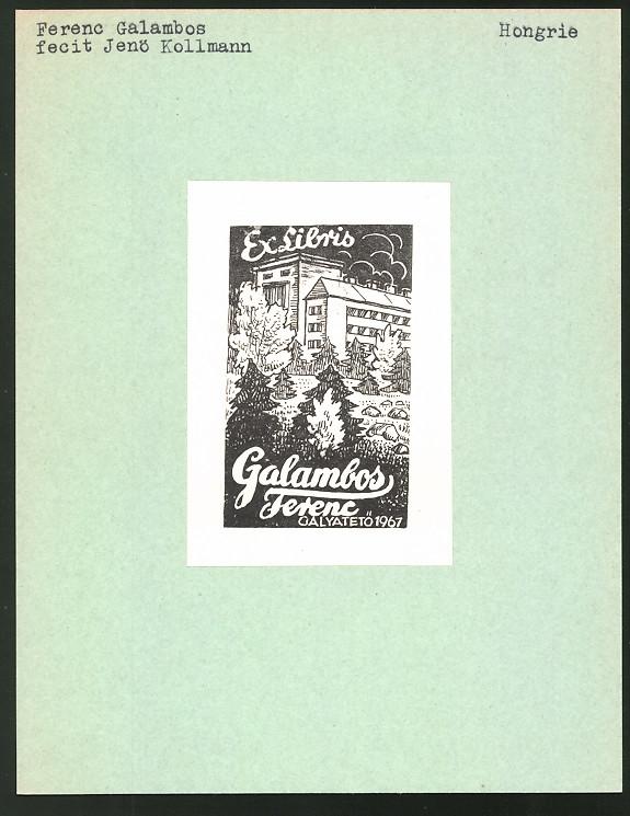 Exlibris von Jenö Kollmann für Ferenc Galambos, Galyatetö, Gebäudeansicht