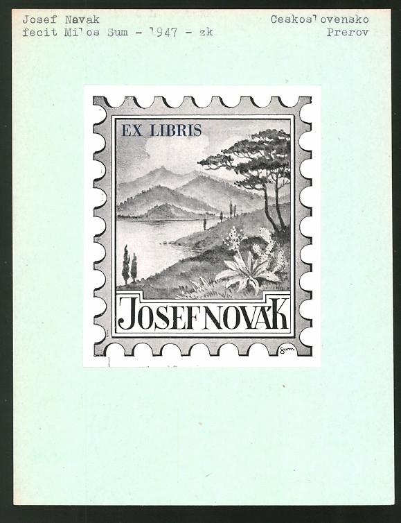 Exlibris von Milos Sum für Josef Novak, Landschaftspanorama