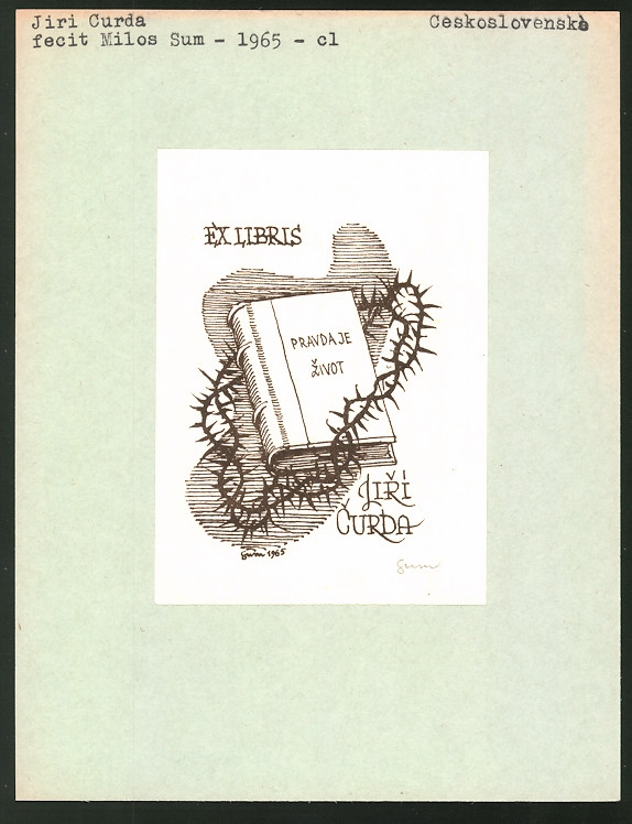 Exlibris von Milos Sum für Jiri Curda, Buch von Dornen umrankt
