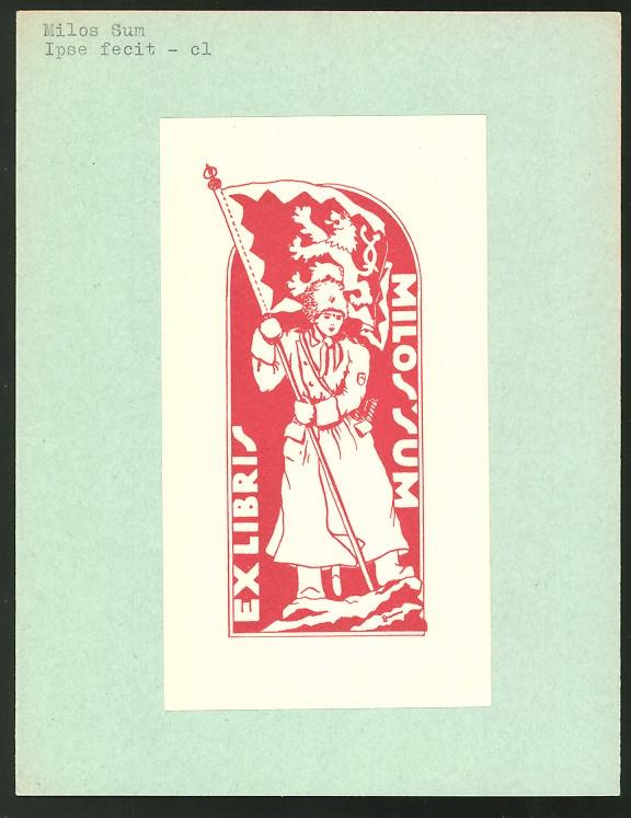 Exlibris von Milos Sum für Milos Sum, Soldat in Uniform mit Standarte