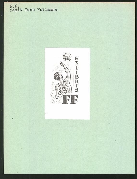 Exlibris von Jenö Kollmann für F.F., Initialien und Handballspieler