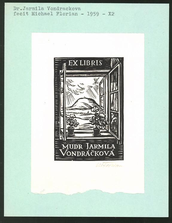 Exlibris von Michael Florian für Dr. Jarmila Vondrackova, Fensterblick mit Landschaftspanorama