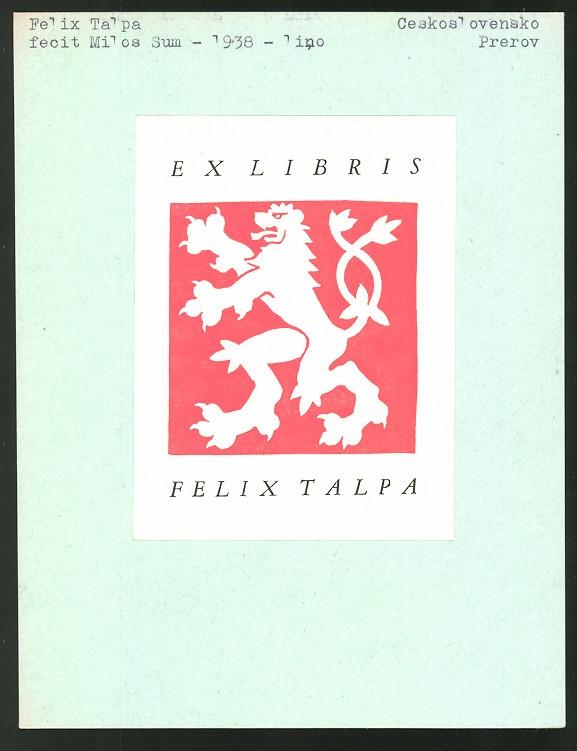 Exlibris von Milos Sum für Felix Talpa, Wappen mit Löwe