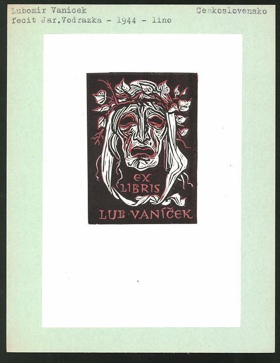 Exlibris von Jar. Vodrazka für Lubomir Vanicek, Maske mit Dornenkrone