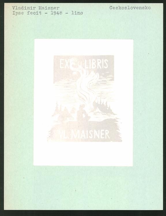 Exlibris von Vladimir Maisner für Vladimir Maisner, Mann vor Lagerfeuer sitzend