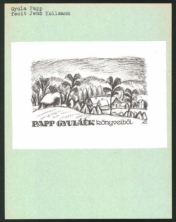 Exlibris von Jenö Kollmann für Gyula Papp, Dorf in idyllischer Landschaf