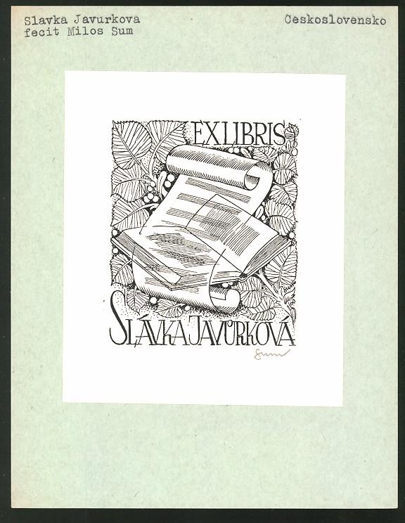 Exlibris von Milos Sum für Slavka Javurkova, Buch, Notenzeilen & Blätter