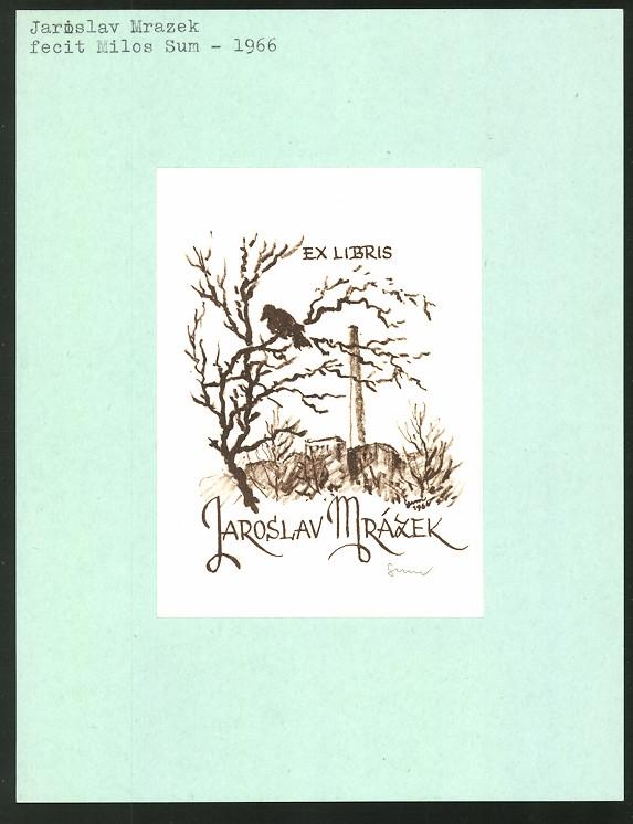 Exlibris von Milos Sum für Jaroslav Mrazek, Vogel auf einem Baum vor einer Fabrik