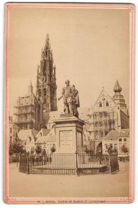 Fotografie Fotograf unbekannt, Ansicht Anvers, Statue De Rubens Et Cathedrale