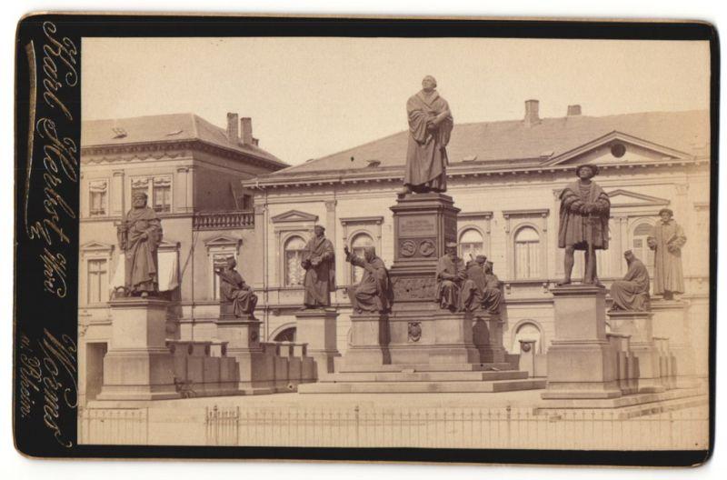 Fotografie Karl Herbst, Worms, Ansicht Worms, Statuen-Ensemble am Lutherplatz