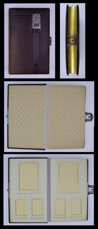 Fotoalbum mit Ledereinband und Metallschliesse, 13 Seiten mit Goldschnitt für Kabinett - & CDV-Fotos