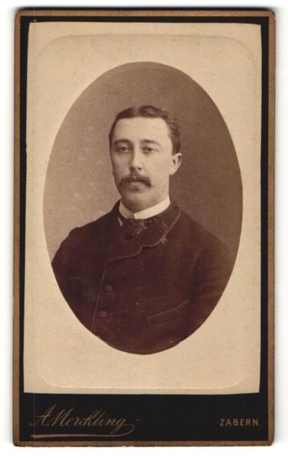 Fotografie A. Merckling, Zabern, Portrait Herr mit Oberlippenbart