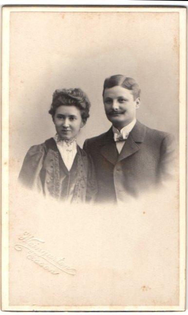Fotografie H. Weingarten, Essen, Portrait junges bürgerliches Paar