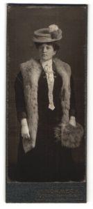 Fotografie H. Schmeck, Siegen, Portrait Dame mit Hut und Pelz