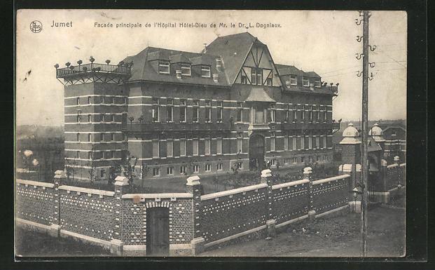 AK Jumet, Facade principale de L' Hôpital Hotel-Dieu de Mr. le Dr. L. Dogniaux