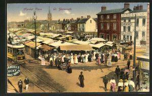 AK Great Yarmouth, Market Place, Strassenbahn