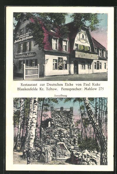 Ak Blankenfelde Restaurant Zur Deutschen Eiche Von Paul Kuke