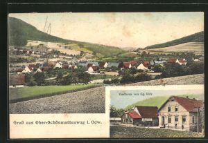 AK Ober-Schönmattenwag i. Odw., Gasthaus von Gg. Gölz, Blick auf das Dorf