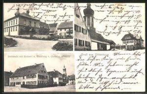 AK Dittenheim, Dorfstrasse mit Bäckerei und Handlung von Christian Albrecht, Schule