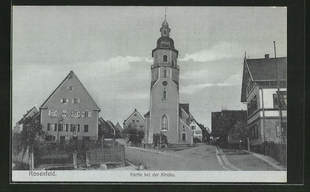 AK Rosenfeld, Strassenpartie bei der Kirche