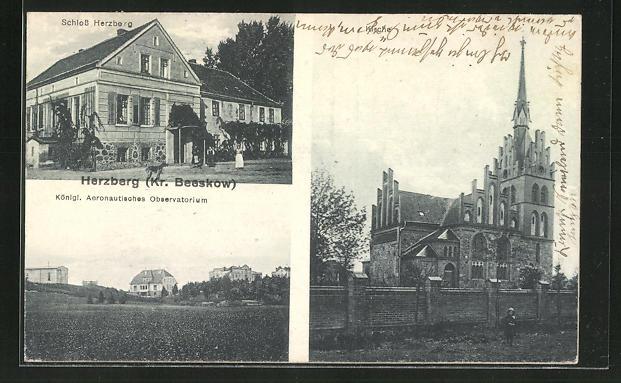 AK Herzberg / Kr. Beeskow, Schloss Herzberg, Königl. Aeronautisches Observatorium