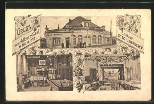 AK Hörnitz, Gasthaus Albert-Saal, Bes. Otto Ulbricht, Gastzimmer, Saal
