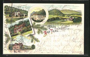 Lithographie Bad Thal, Gasthof Heiligenstein, Villa Rosa & Laetitia Dr. Pollitz, Villa Bock, Villa Bramm, Ortsansicht