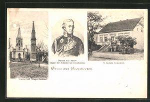AK Grossbeeren, M. Laube's Restaurant, Kirche und Krieger-Denkmal, General von Bülow