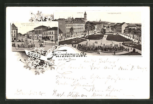 Lithographie Fürstenwalde an der Spree, Denkmalsplatz & Gymnasium, Kirche, Kaiserplatz