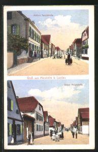 AK Herxheim b. Landau, Blick auf die mittlere Hauptstrasse und untere Hauptstrasse