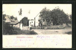 AK Hüttermühle, Strassenpartie im Dorf