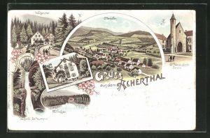 Lithographie Ottenhöfen, Hotel Edelfrauengrab, Wolfsbrunnen, Mummelsee