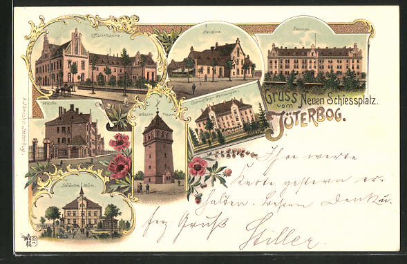 Lithographie Jüterbog, Neuer Schiessplatz, Offizier-Kasino, Kantine, Kaserne, Wache, Wasserturm, Soldatenheim