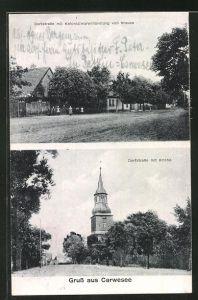 AK Carwesee, Dorfstrasse mit Kolonialwarenhandlung von Krause, Dorfstrasse mit Kirche