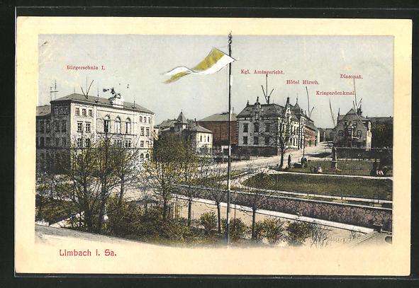 AK Limbach i. Sa., Bürgerschule I., Kgl. Amtsgericht, Hotel Hirsch, Kriegerdenkmal, Diaconat